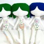 hand embroidered linen doll Ermelin..