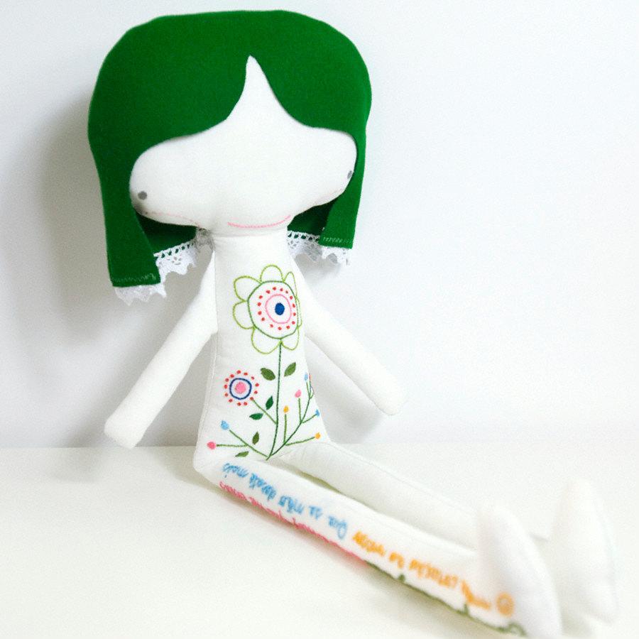 hand embroidered linen doll Ermelinda