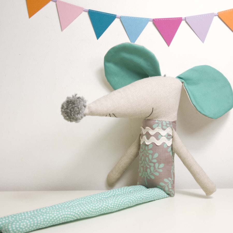 Nicolau the soft toy mouse * grey and turquoise