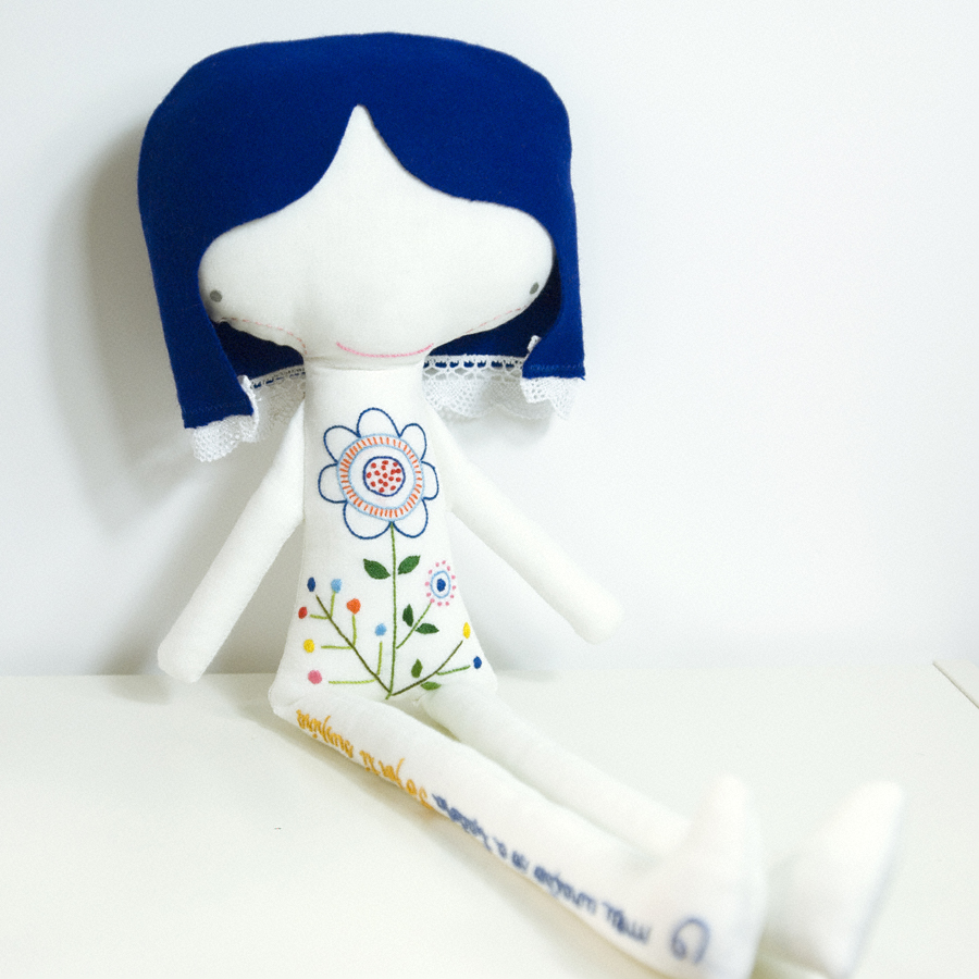 Ermelinda linen doll * hand embroidered flower and letters with blue hair