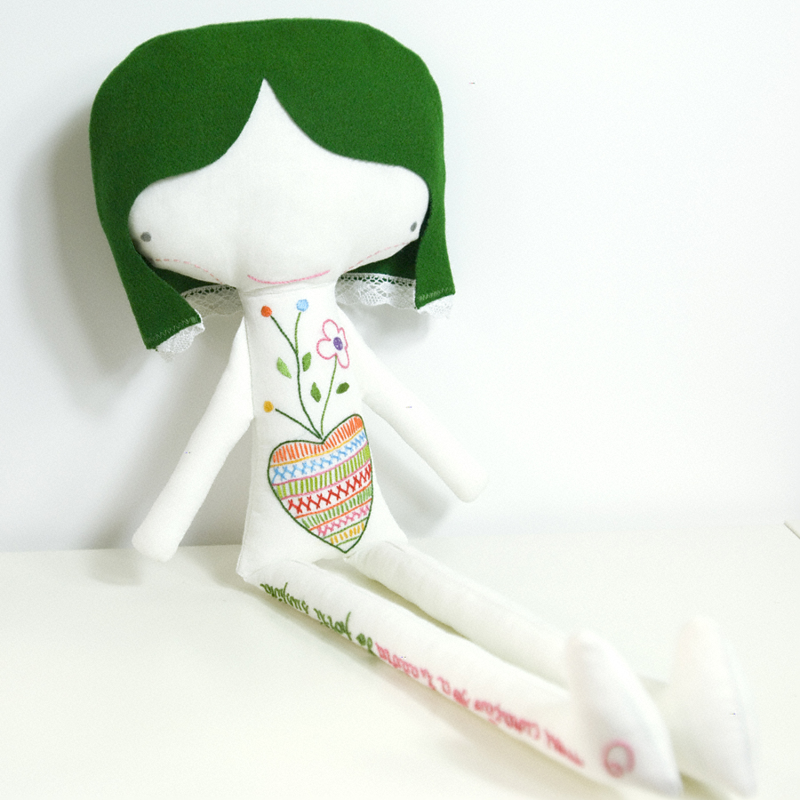 Ermelinda linen doll * hand embroidered heart and letters with green hair