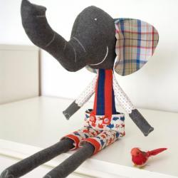 Ludovico, the soft toy elephant - blue & red