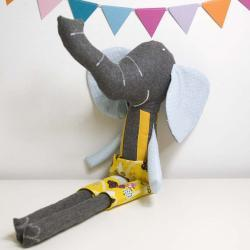 Ludovico the soft toy elephant * blue and yellow
