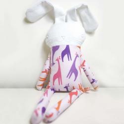 sweet softie rabbit in pyjama * violet with giraffes