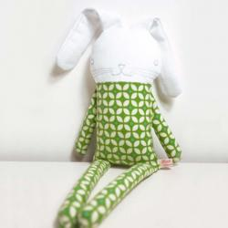 sweet softie rabbit in pyjama flannel * green