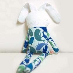 sweet softie rabbit in pyjama flannel * blue